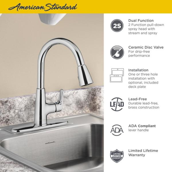 Stainless Steel 3 Pack American Standard Colony PRO 1 Handle Kitchen Faucet