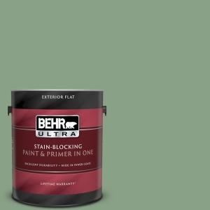 Behr Ultra 1 Gal M410 5 Green Bank Flat Exterior Paint And Primer In One 485401 The Home Depot
