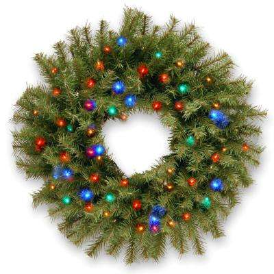 24 in. Norwood Fir Artificial Wreath with Battery Operated Multicolor LED Lights