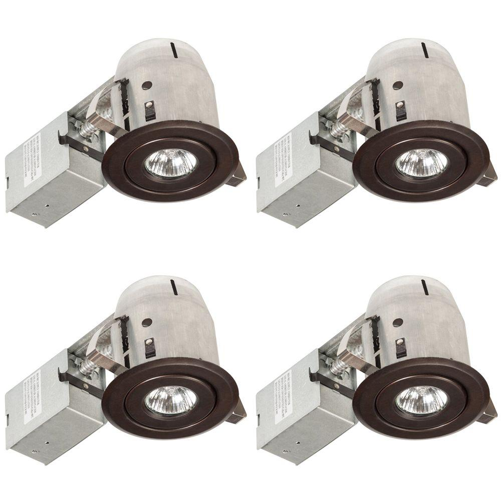 3 in. Oil-Rubbed Bronze Swivel Recessed Lighting Kit (4-Pack)