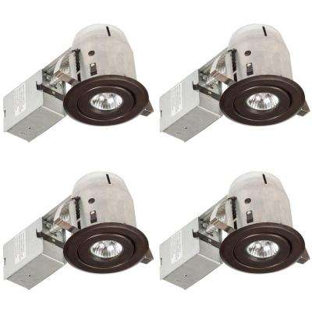 3 in. Oil-Rubbed Bronze Swivel Recessed Lighting Kit (4-Pack)