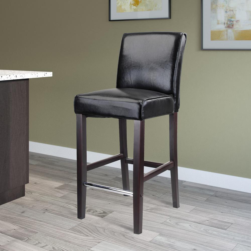 Black bonded leather bar stool