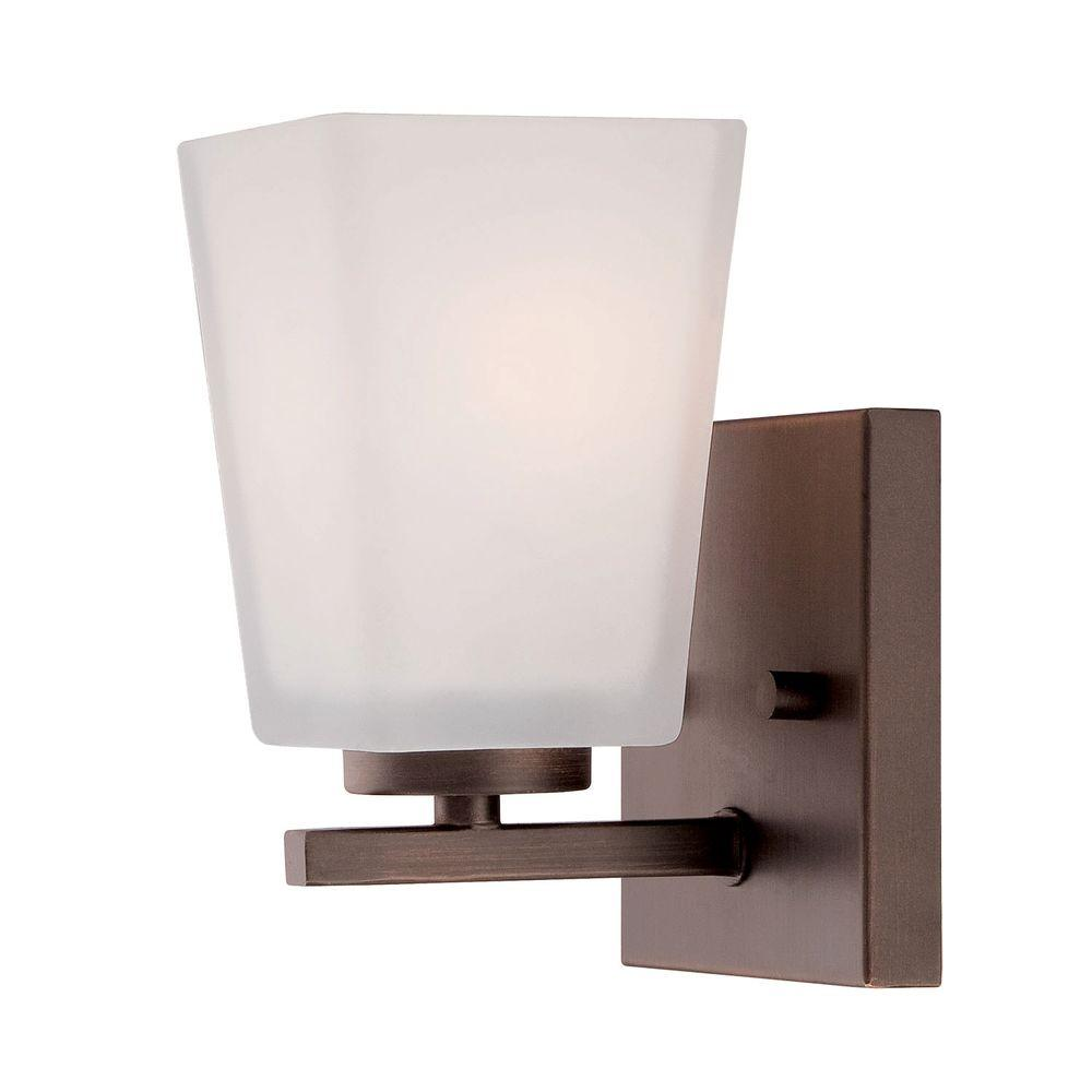 Millennium Lighting Rubbed Bronze Wall Sconce With Etched