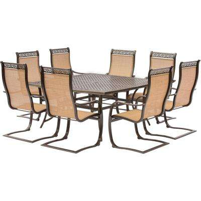 Manor 9-Piece Aluminum Square Outdoor Dining Set with Spring Sling Chairs and Cast-Top Table