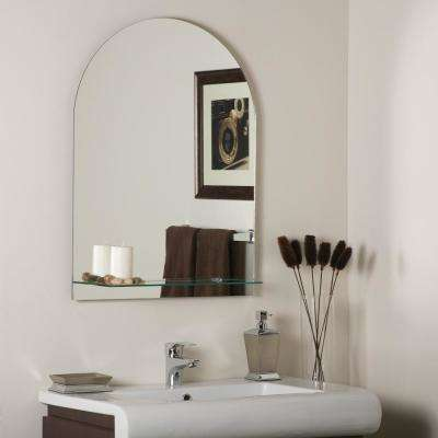 31.5 in. x 23.6 in. Oval Roland Frameless Wall Mirror With Shelf with Beveled Edge