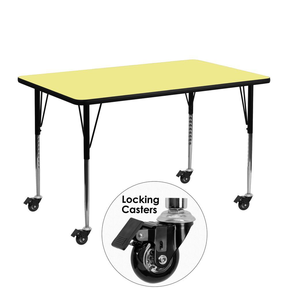 Flash Furniture Yellow Kids Table XUA2448RECYLTAC