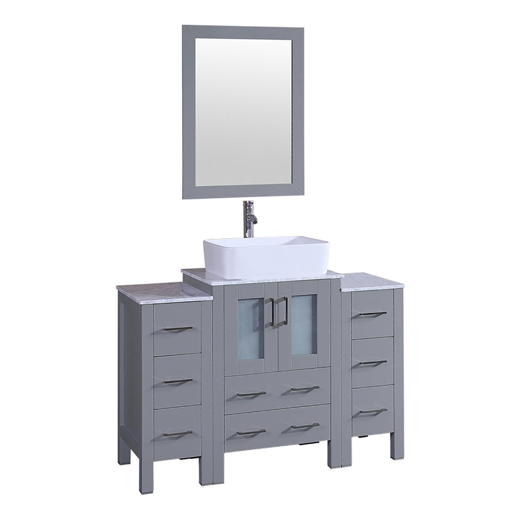 48 in. W Single Bath Vanity with Carrara Marble Vanity Top