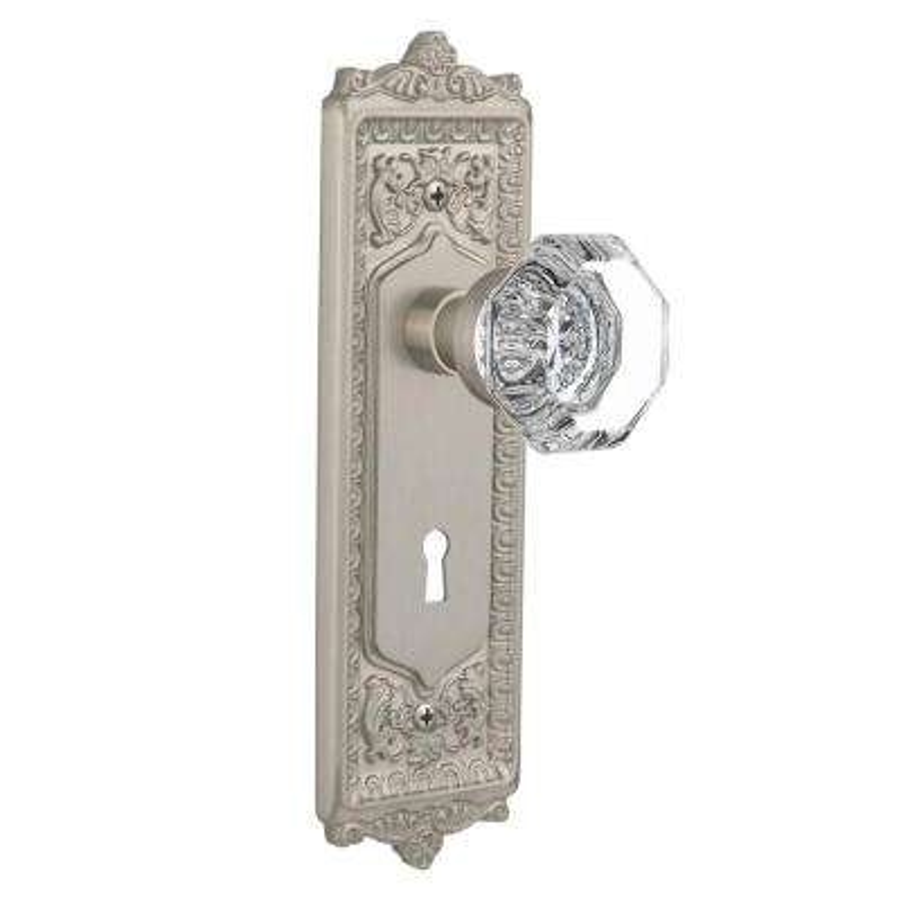 Egg & Dart Plate with Keyhole 2-3/4 in. Backset Satin Nickel Passage Hall/Closet Waldorf Door Knob
