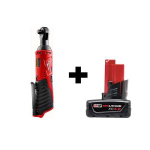 M12 12-Volt Lithium-Ion Cordless 3/8 in. Ratchet with 4.0 Ah M12 Battery