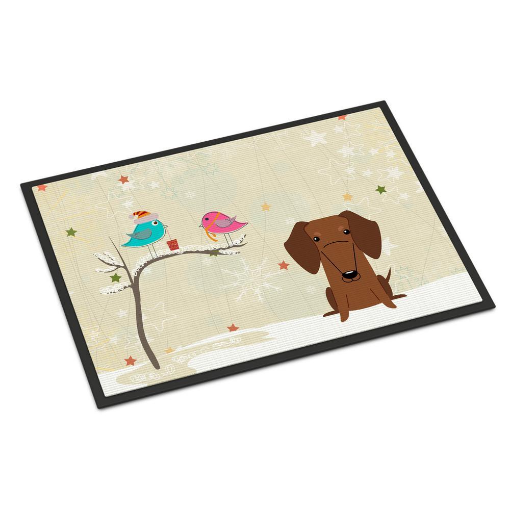 18 in. x 27 in. Indoor/Outdoor Christmas Presents between Friends Dachshund Red Brown Door Mat
