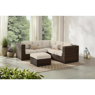 Fernlake 4-Piece Taupe Wicker Outdoor Patio Sectional Sofa with CushionGuard Chalk White Cushions