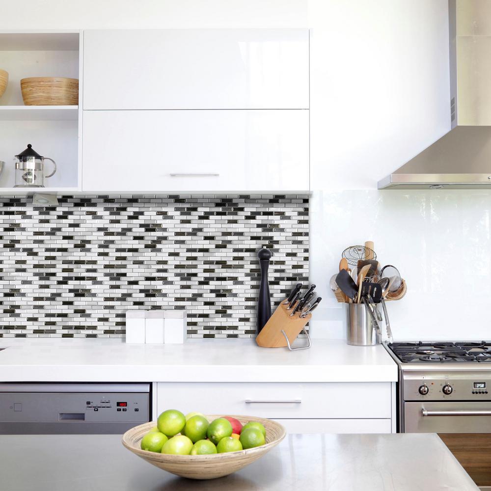 Smart Tiles Murano Metallik Black Grey And White 10 20 In