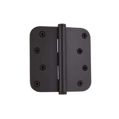 4 in. Button Tip Residential Hinge with 5/8 in. Radius Corners in Timeless Bronze
