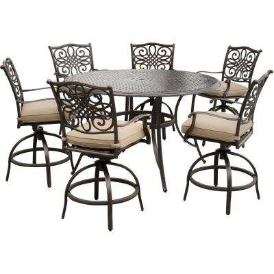 Traditions 7 Piece Aluminum Outdoor High Dining Set With Swivel Chairs Natural Oat Cushions