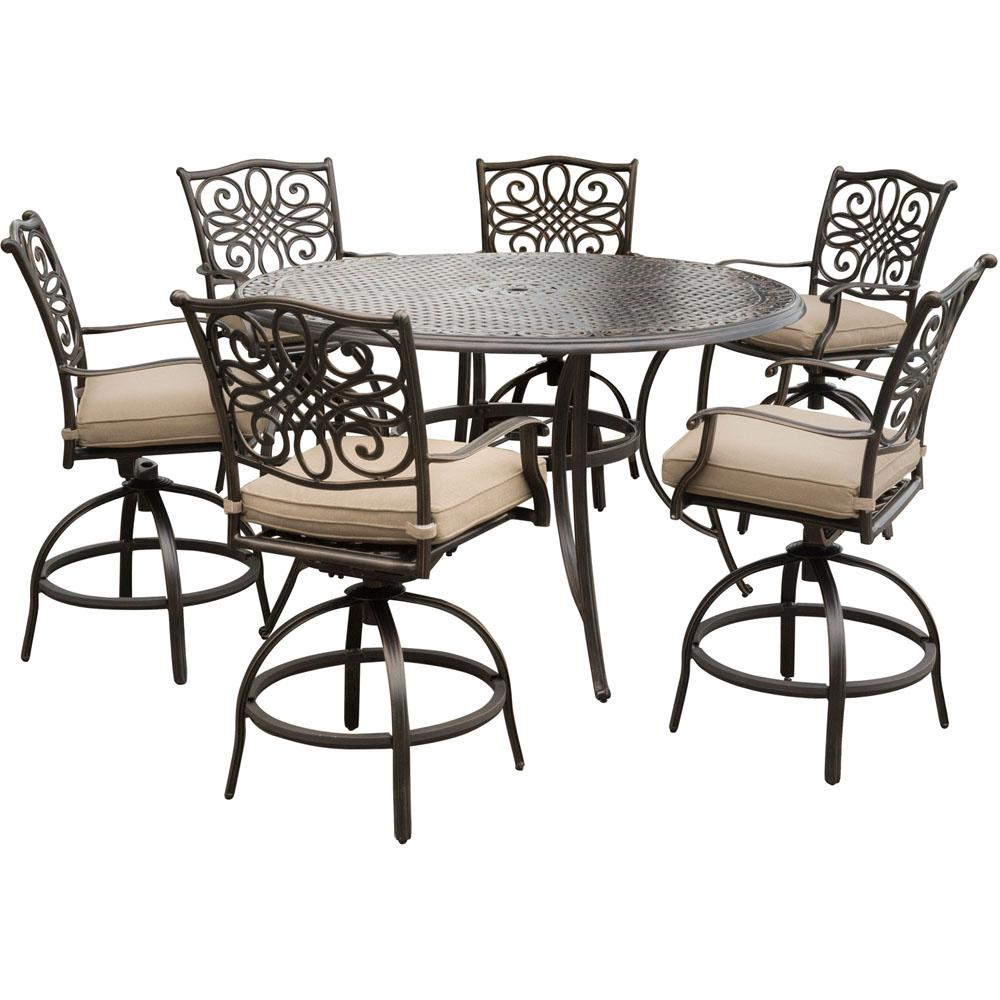 Hanover Traditions 7-Piece Aluminum Outdoor High Dining Set with Swivel Chairs with Natural Oat Cushions