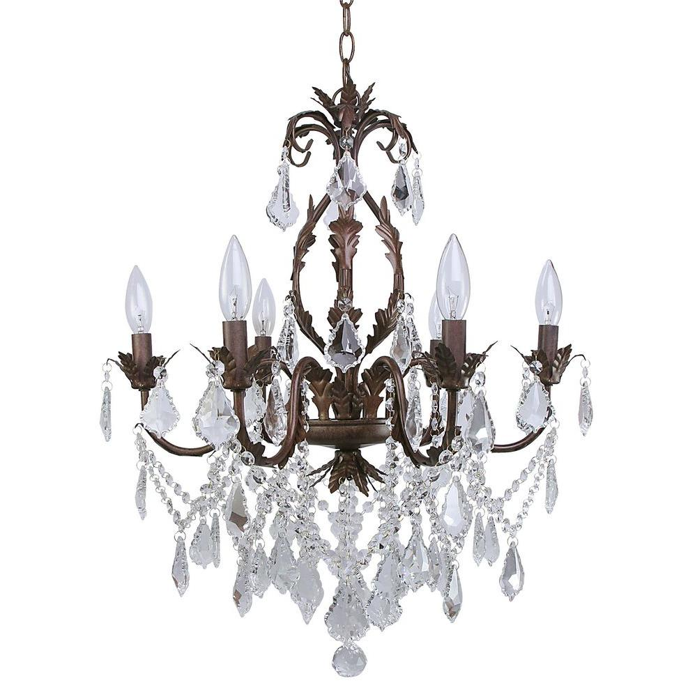 CANARM Heritage 6-Light Painted Aged Iron Chandelier with Crystal Drops