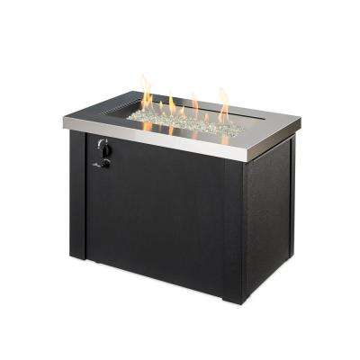 Providence 30 in. x 23 in. Rectangular Stainless Steel Natural Gas or Propane Fire Pit Table with Black Base