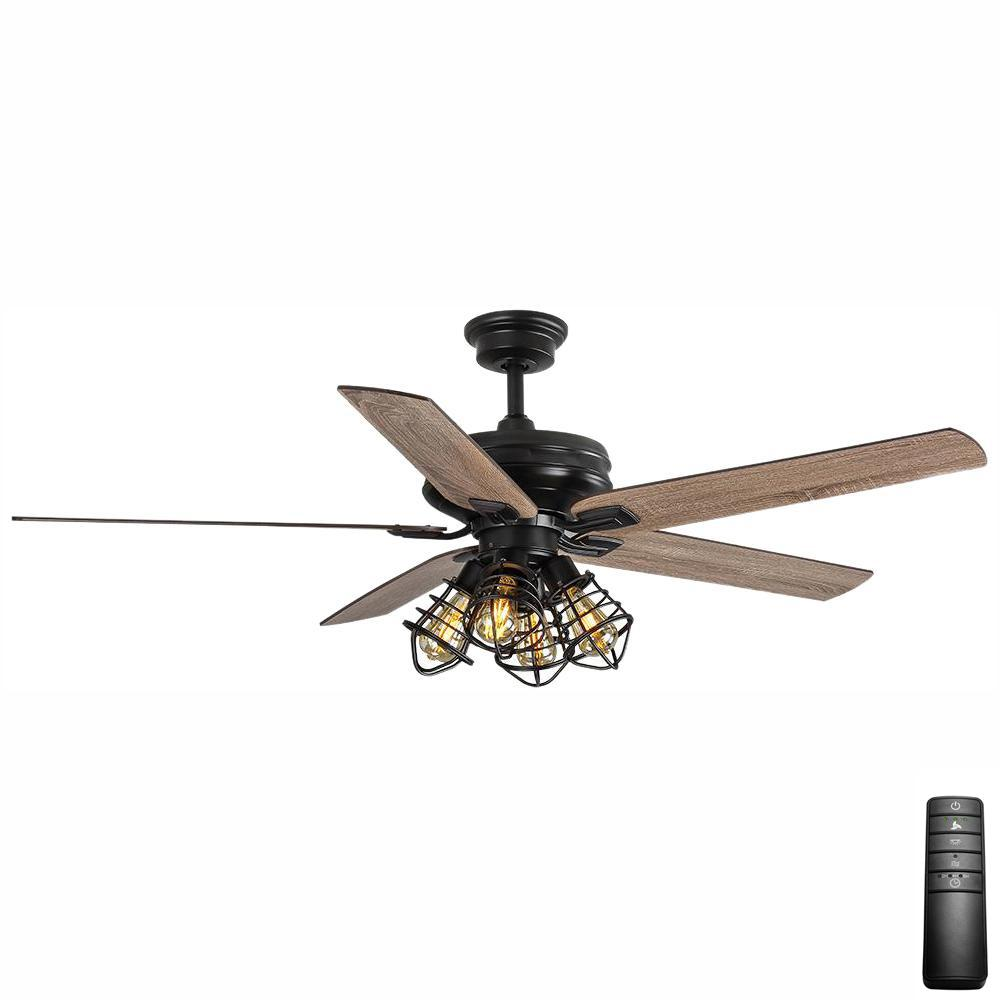 Home Decorators Collection Carlisle 60 in. LED Matte Black Ceiling Fan with Remote Control and Light Kit