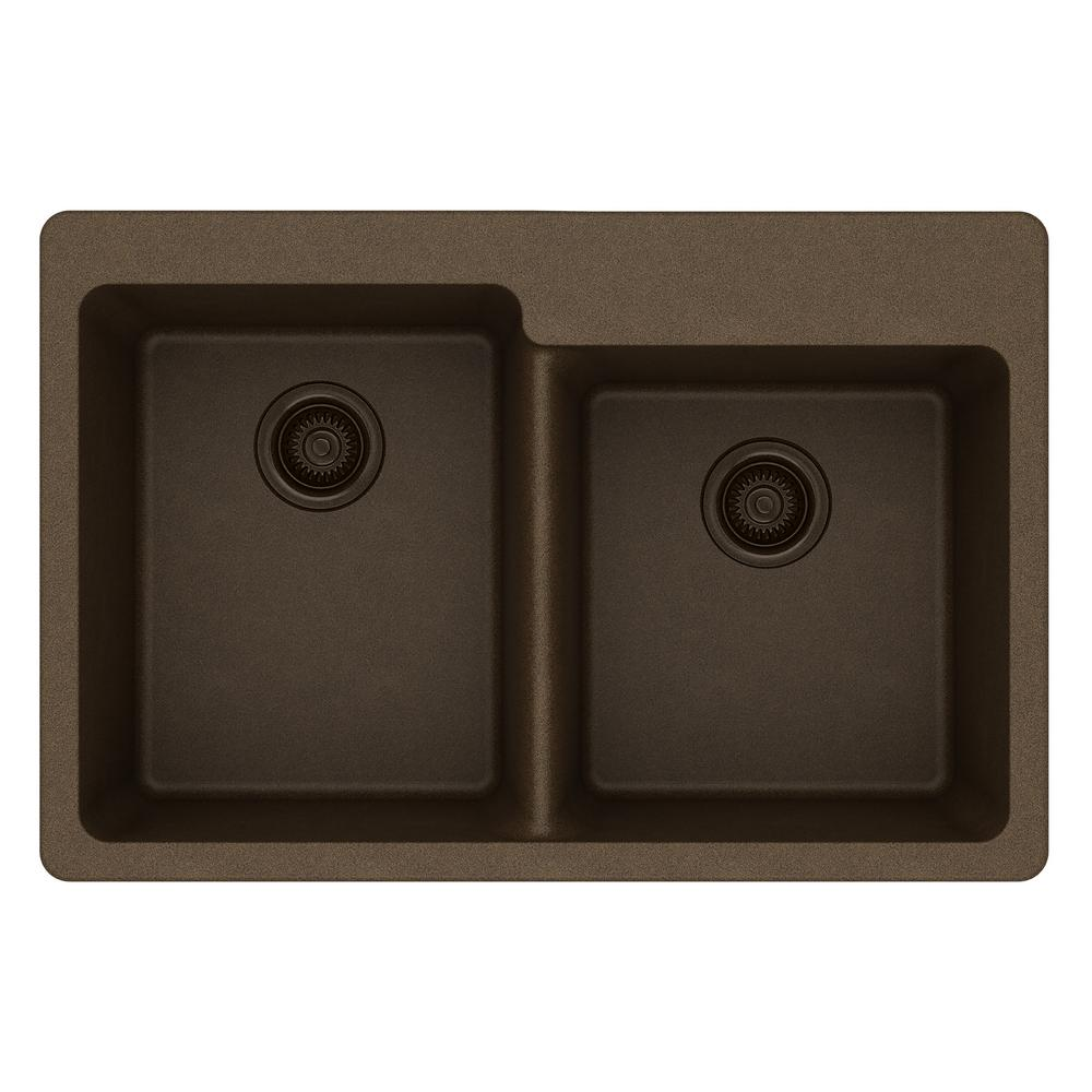 Elkay Quartz Classic Drop-In Composite 33 in. Square Offset Double Bowl Kitchen Sink in Mocha
