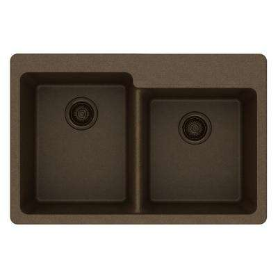 Quartz Classic Drop-In Composite 33 in. Square Offset Double Bowl Kitchen Sink in Mocha