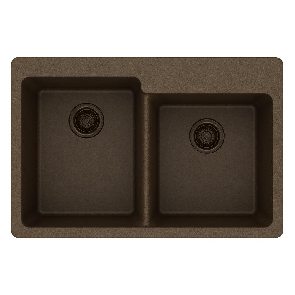 Quartz Classic Drop-In Quartz 33 in. Double Bowl Kitchen Sink in Mocha