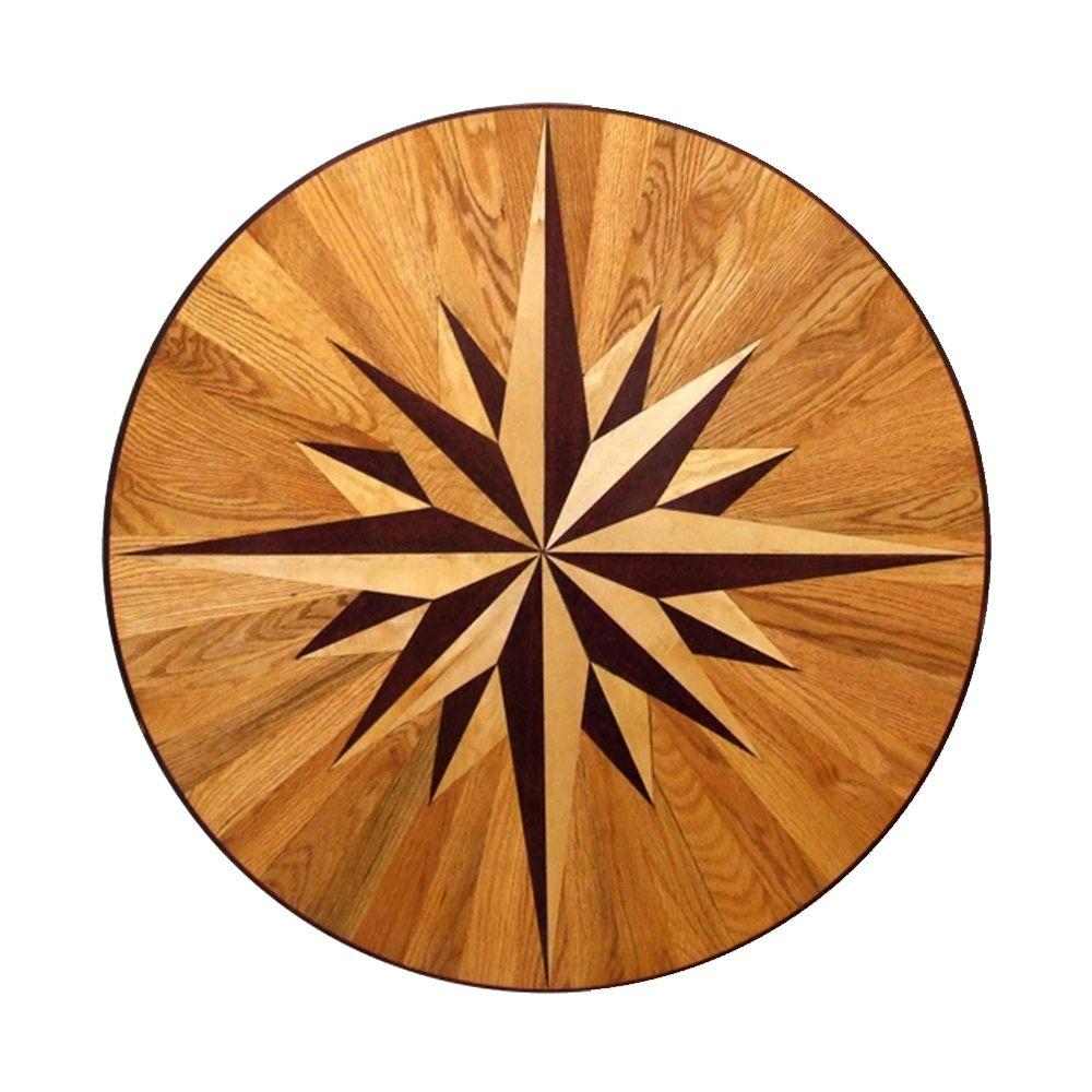 PID Floors 3/4 in. Thick x 36 in. Wide Circular Medallion Unfinished Decorative Wood Floor Inlay MC011