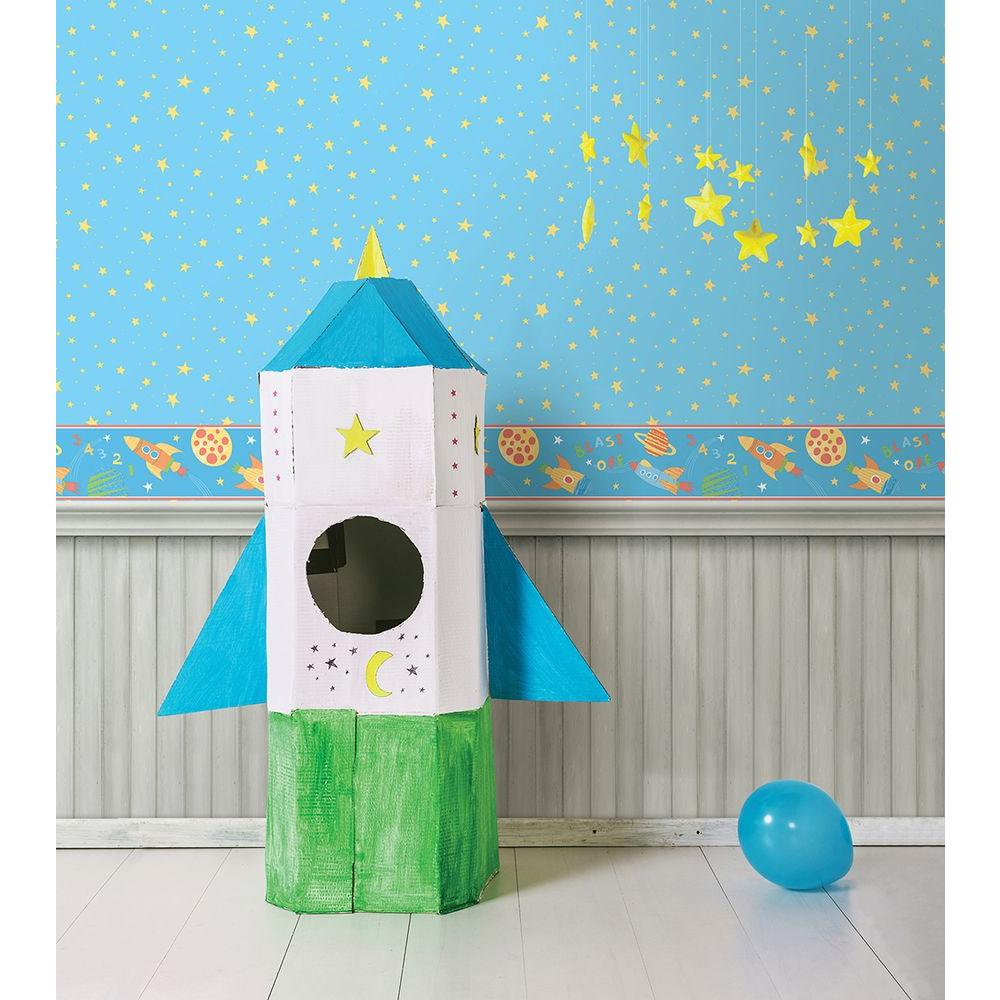 Blast Off Space Turquoise Wallpaper Border