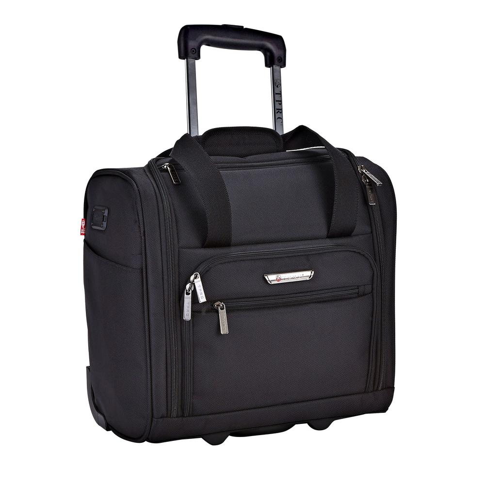 15 in. Black Underseater Carry-On Rolling Briefcase with 2-in-1 Function (USB