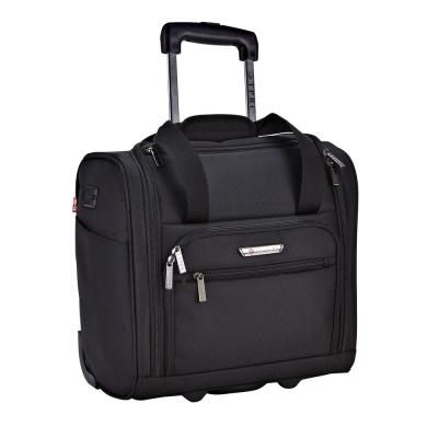 15 in. Black Underseater Carry-On Rolling Briefcase with 2-in-1 Function (USB Port Built in for Charging)