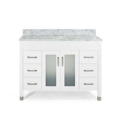 Halston 48 in. W x 22 in. D Bath Vanity with Carrara Marble Vanity Top in White with White Basin