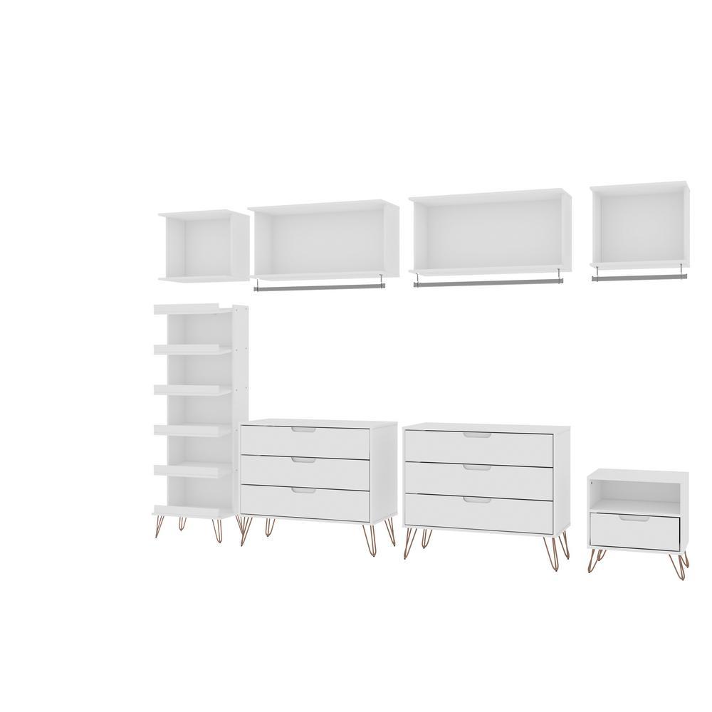 Rockefeller 8-Piece White Open Wardrobe Set