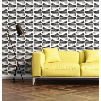 Nomad Collection Zebra in Black and White Removable and Repositionable Wallpaper