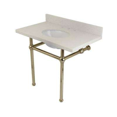Washstand 36 in. Console Table in White Quartz with Metal Legs in Polished Nickel