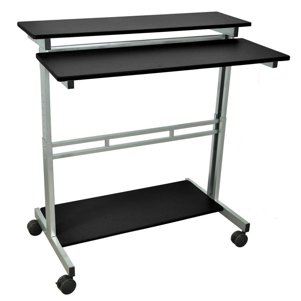 Stand Up Desk >> Luxor Black Adjustable Stand Up Desk Standup 40 B The Home Depot