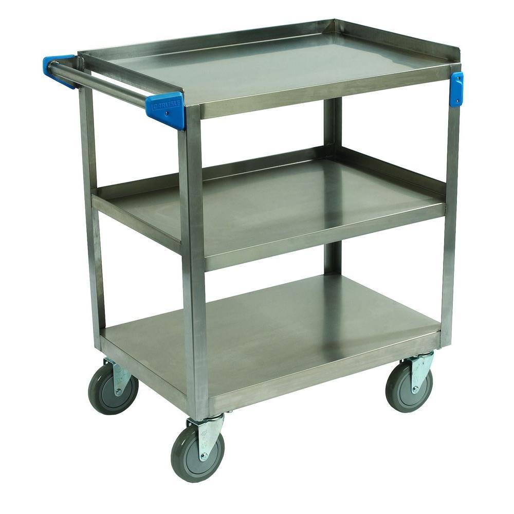 Carlisle 15 inch x 24 inch 500 lb. Capacity 3-Shelf Stainless Steel Utility Cart by Carlisle