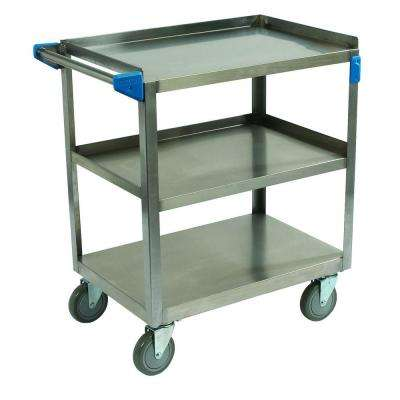 32.50 in. H x 15.50 in. W x 24 in. D Stainless Steel 3-Shelf Utility Cart