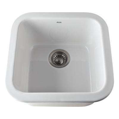 Allia Dual Mount Fireclay 18 in. Single Bowl Kitchen Sink in White