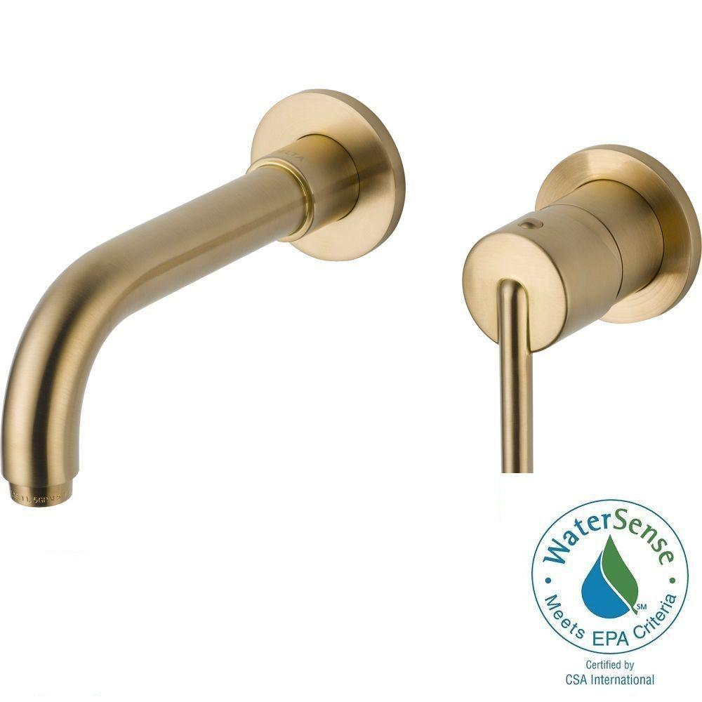 Delta Trinsic Single Handle Wall Mount Bathroom Faucet In Champagne Bronze