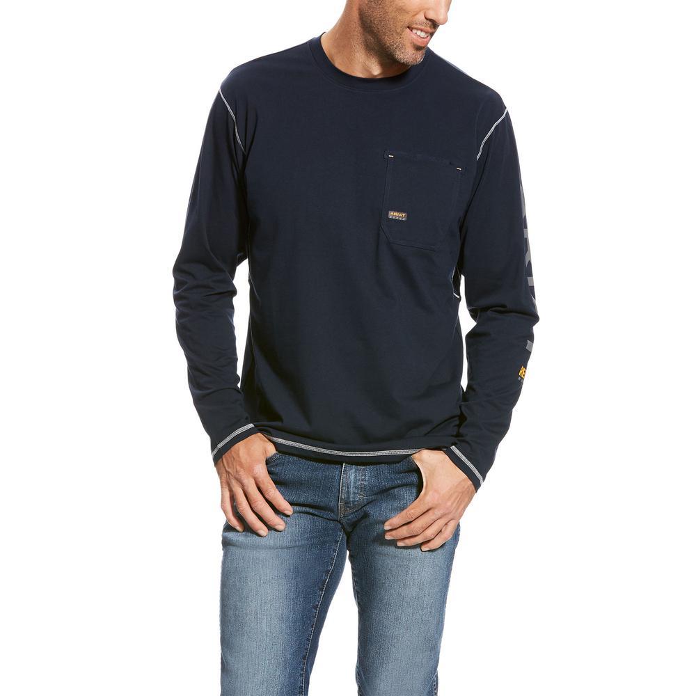 5e78387c5440 Ariat Men's Size Large Tall Navy Rebar Logo Long Sleeve Work T-Shirt ...