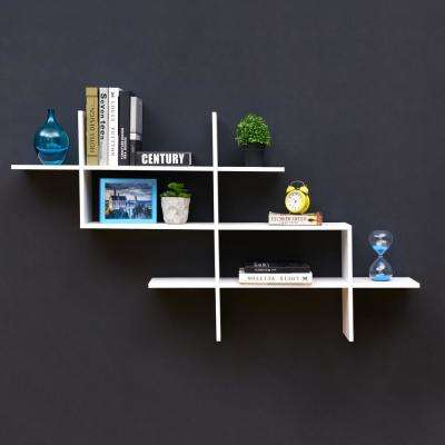 Hanover White MDF Wood Elongated Decorative Wall Shelf