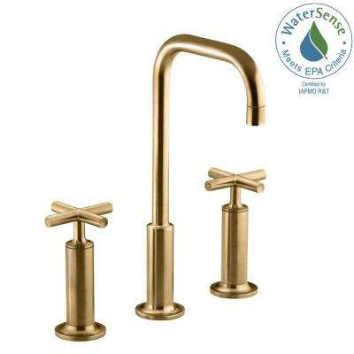 Purist 8 in. Widespread 2-Handle Mid-Arc Bathroom Faucet in Vibrant Moderne Brushed Gold