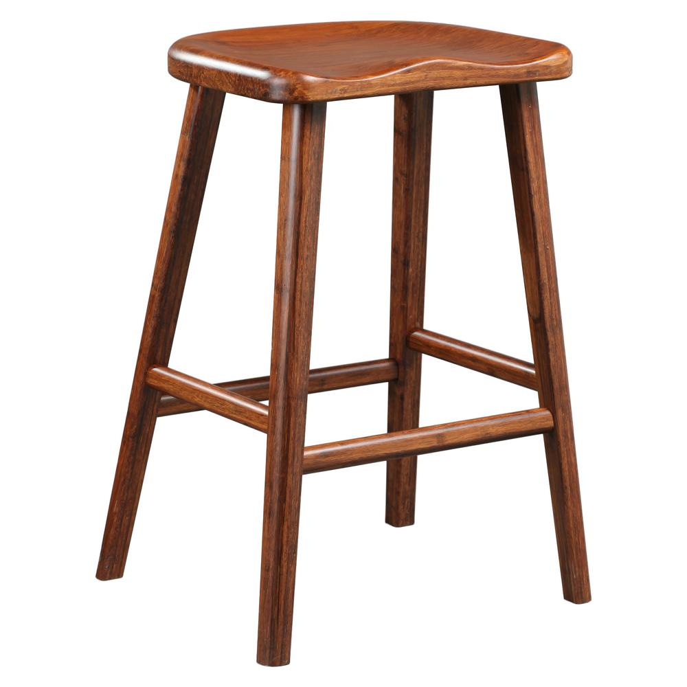 Exotic 100 solid bamboo bar stool set of 2