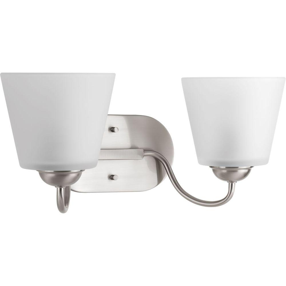 bathroom lighting brushed nickel progress lighting arden collection 2 light brushed nickel 16125