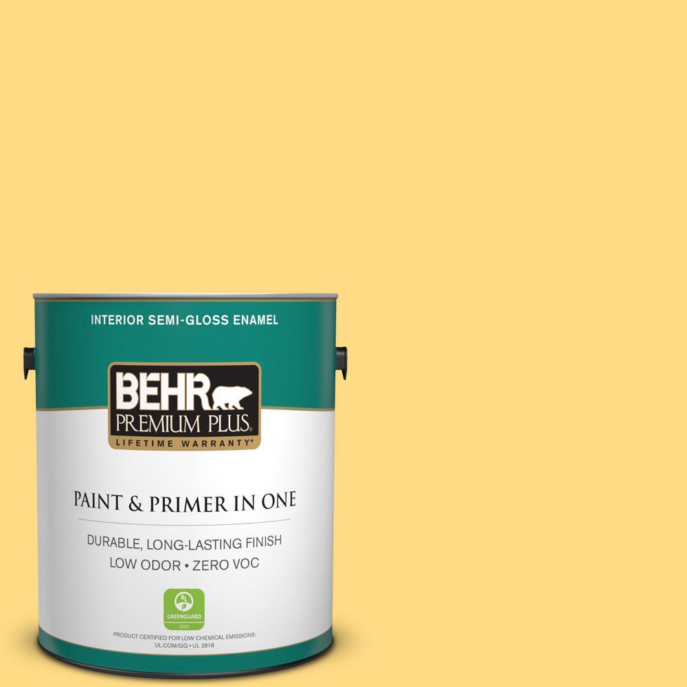 BEHR Premium Plus 1-gal. #P290-4 Spirited Yellow Semi-Gloss Enamel Interior Paint
