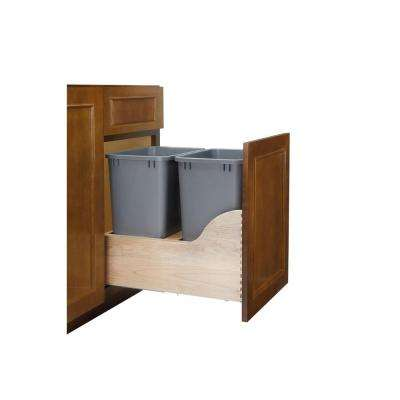 Double 35 Qt. Pull-Out Bottom Mount Wood and Silver Waste Container with Soft-Close Slides for Inset
