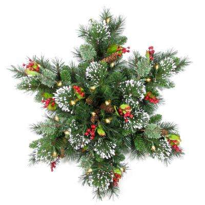 32 in. Wintry Pine Snowflake with LED Lights