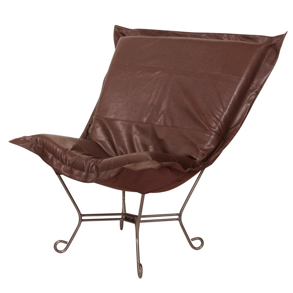 Scroll Puff Chair with Cover, Titanium Frame, Avanti Pecan