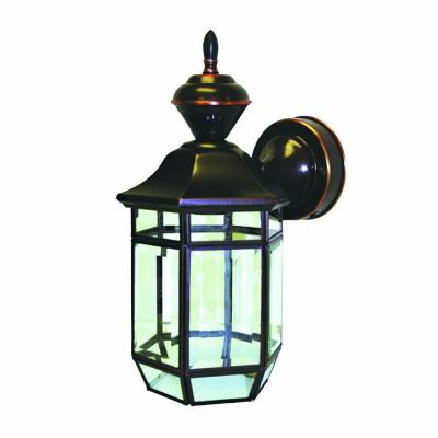150 Degree Antique Copper Lexington Wall Lantern Sconce with Clear Beveled Glass