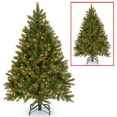 4.5 ft. Downswept Douglas Fir Artificial Christmas Tree with Dual Color LED Lights