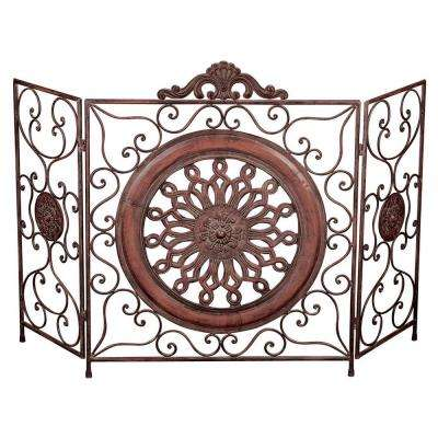Antique Brown Color Metal 3-Panels Fire Screen with Medallion Center